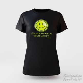 Damen T-Shirt - Lächle wenn Du mich magst - FreeSpirit Shop - black