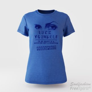 Damen T-Shirt Luck Yourself - Bruno Würtenberger - Blue Marl